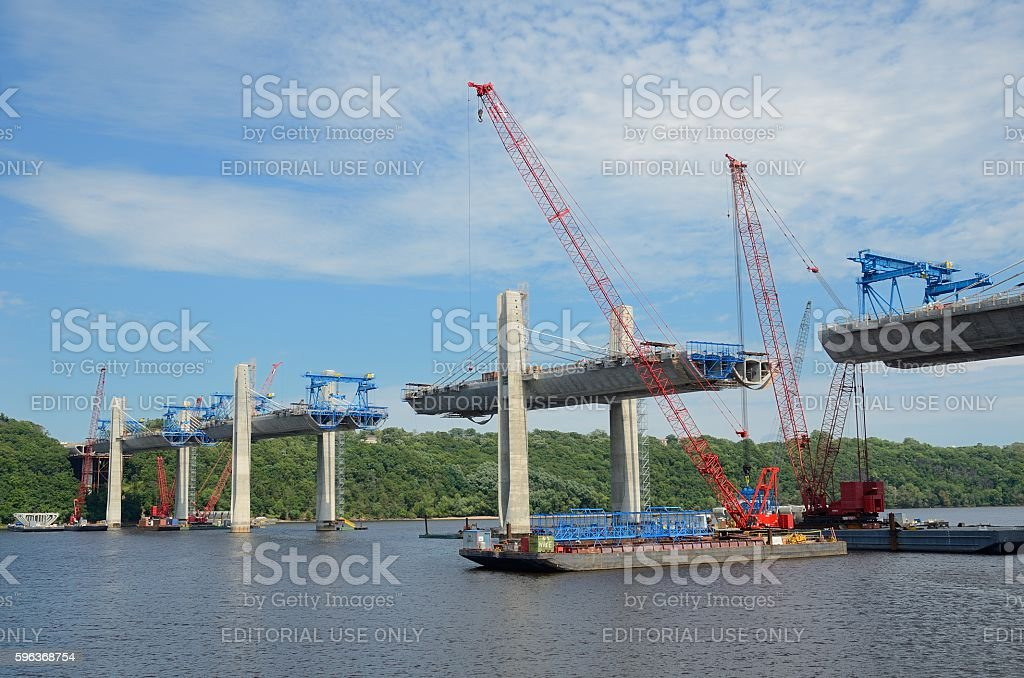 Construction of the St. Croix Crossing Extradosed Bridge stock photo