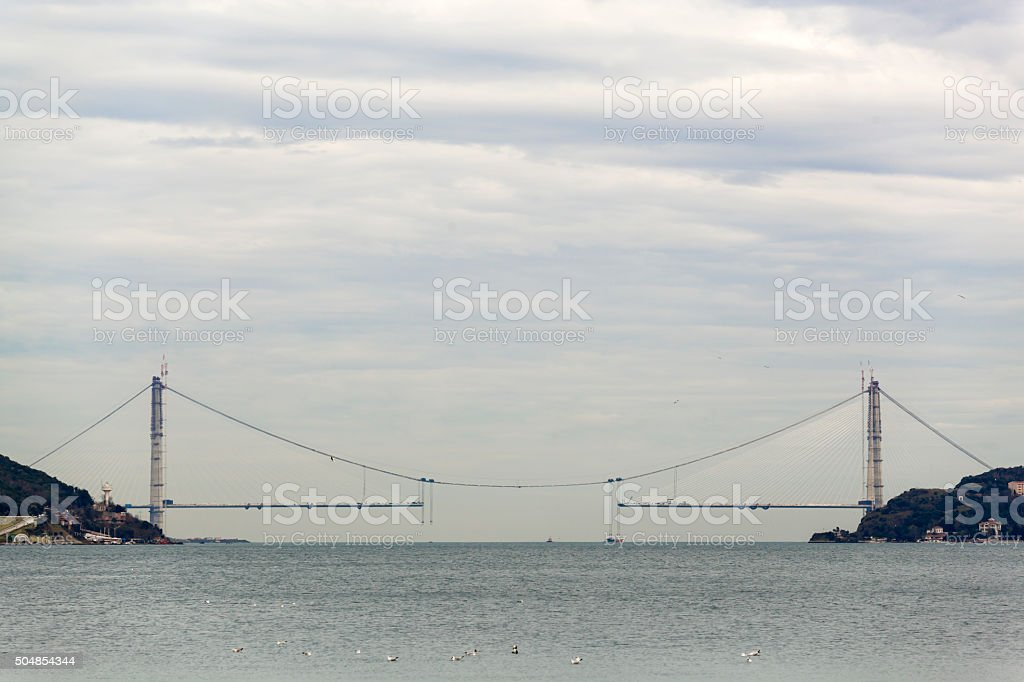 Construction of the third bridge on Bosporus,Istanbul stock photo