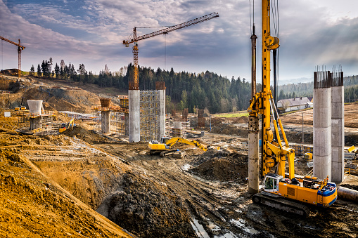 Construction of the viaduct on the new S7 highway, Luban, Poland