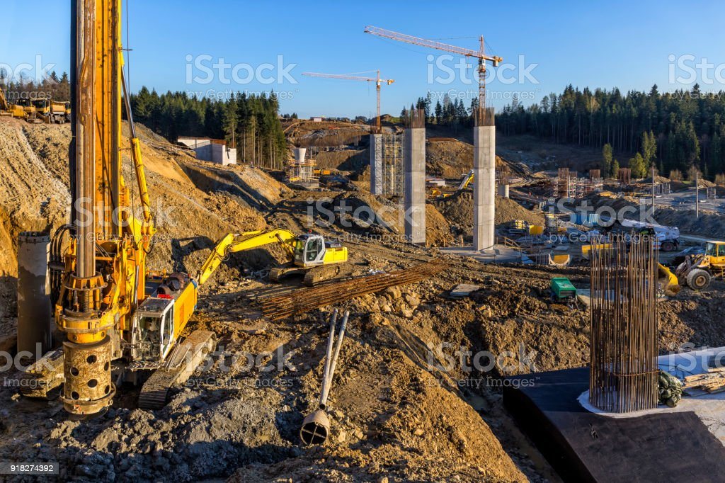 Construction of the viaduct on the new S7 highway, Luban, Poland stock photo