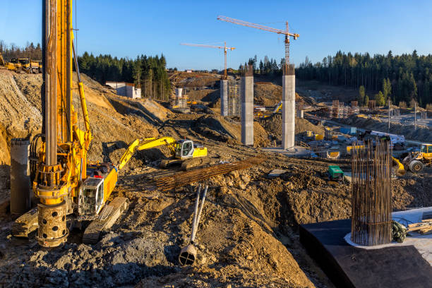 construction of the viaduct on the new s7 highway, luban, poland - pillar drill stock photos and pictures