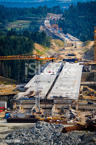 Construction of the viaducts on the new S7 highway, Poland