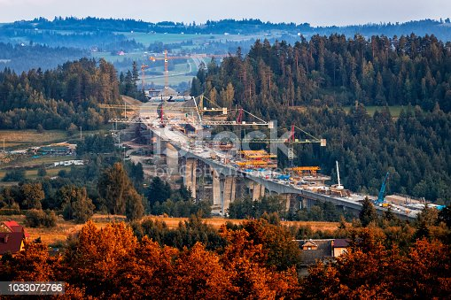 Construction of the viaducts on the new S7 highway, Skomielna Biala, Poland