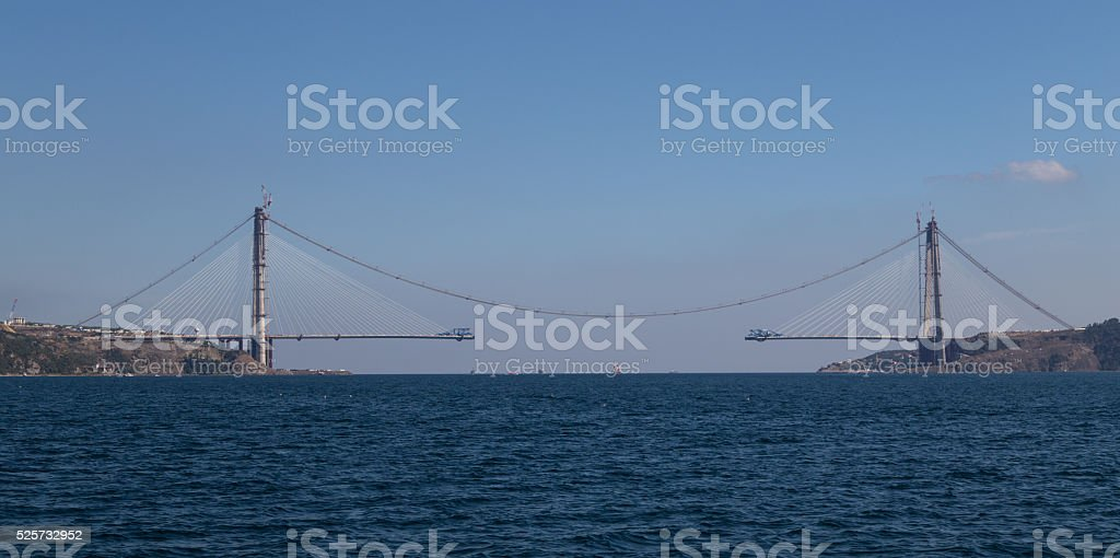 Construction of Yavuz Sultan Selim Bridge stock photo