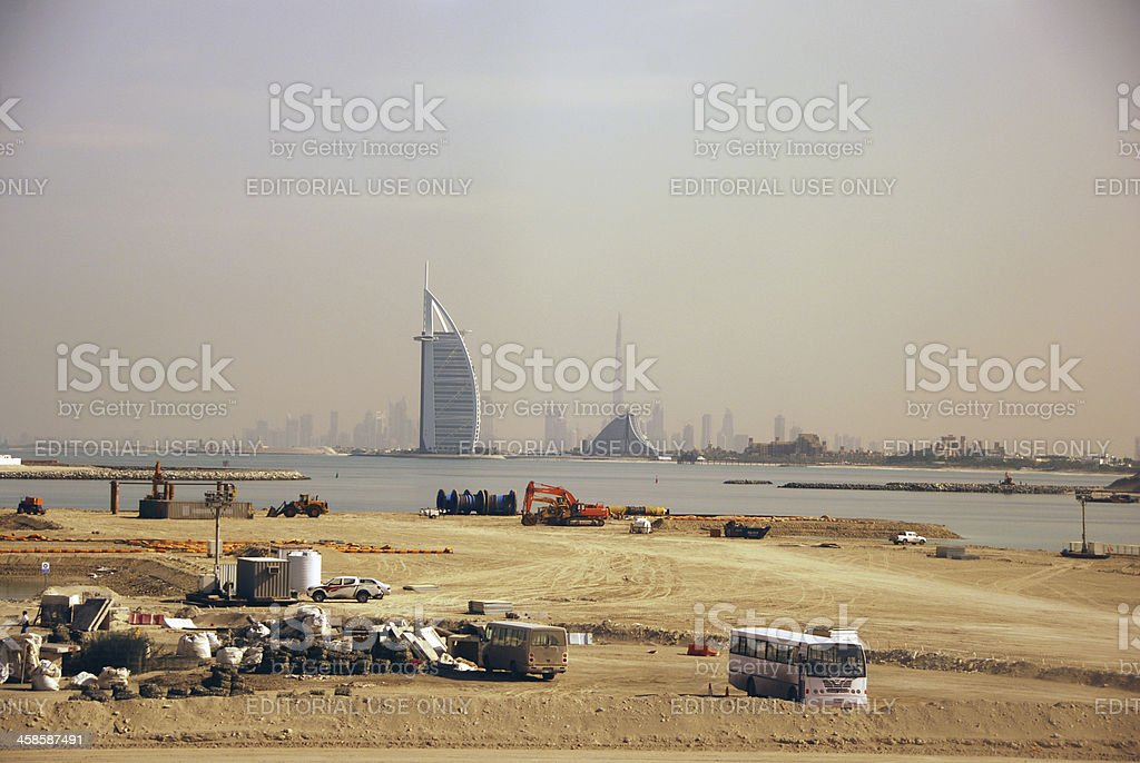 Construction on Palm Jumeirah stock photo