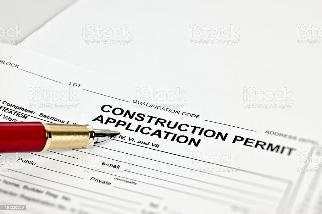 Construction Permit Application stock photo
