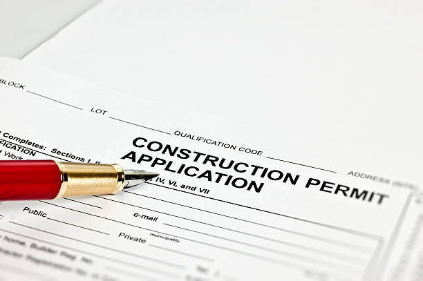 construction permit application - permit stock photos and pictures