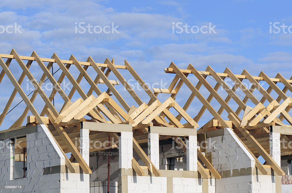 Construction Semi-detached  House in the building shell completed. Architecture Stock Photo