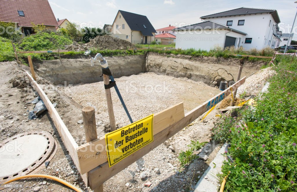 construction pit for foundation of residential house stock photo