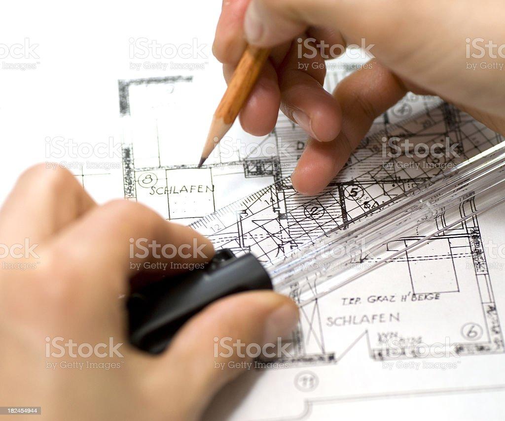 construction plan - Bauplan vermessen royalty-free stock photo