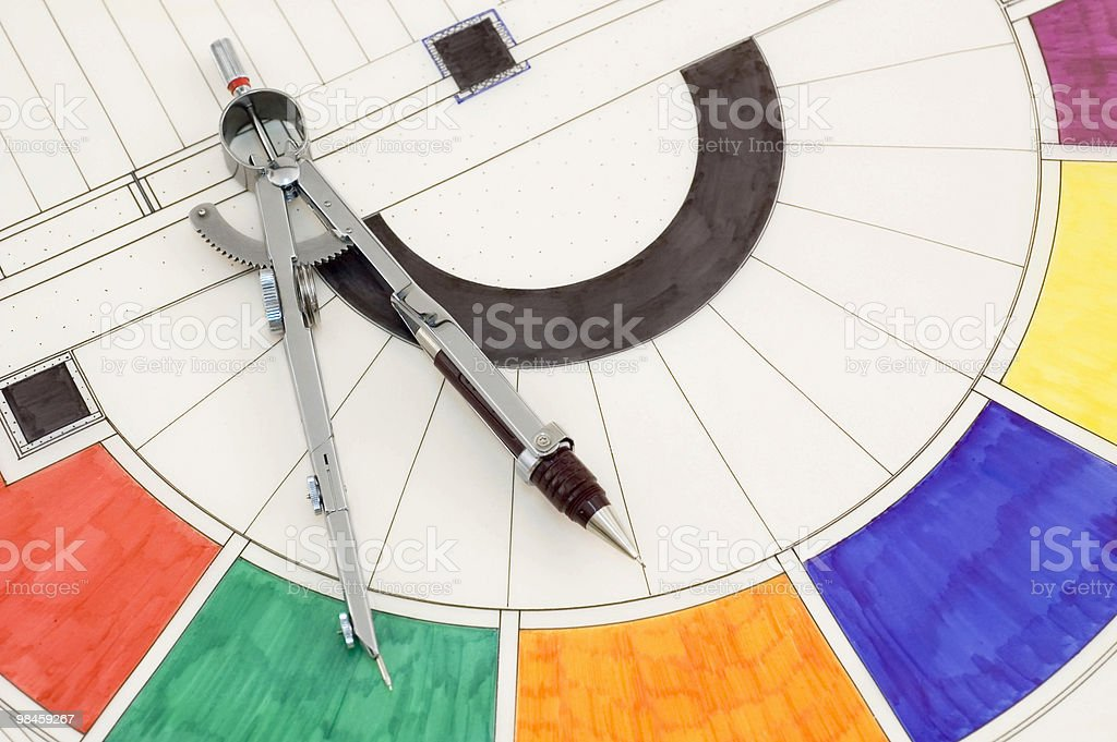 Construction Plan & Drawing Compass royalty-free stock photo