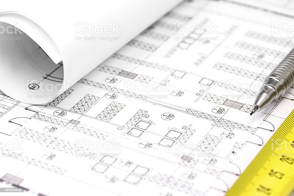 Construction plan stock photo