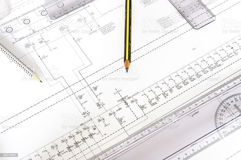 construction plan with objects royalty-free stock photo