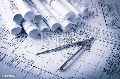 508818208 istock photo Construction planning drawings 478949120