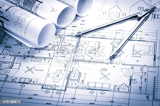 istock Construction planning drawings 479196874