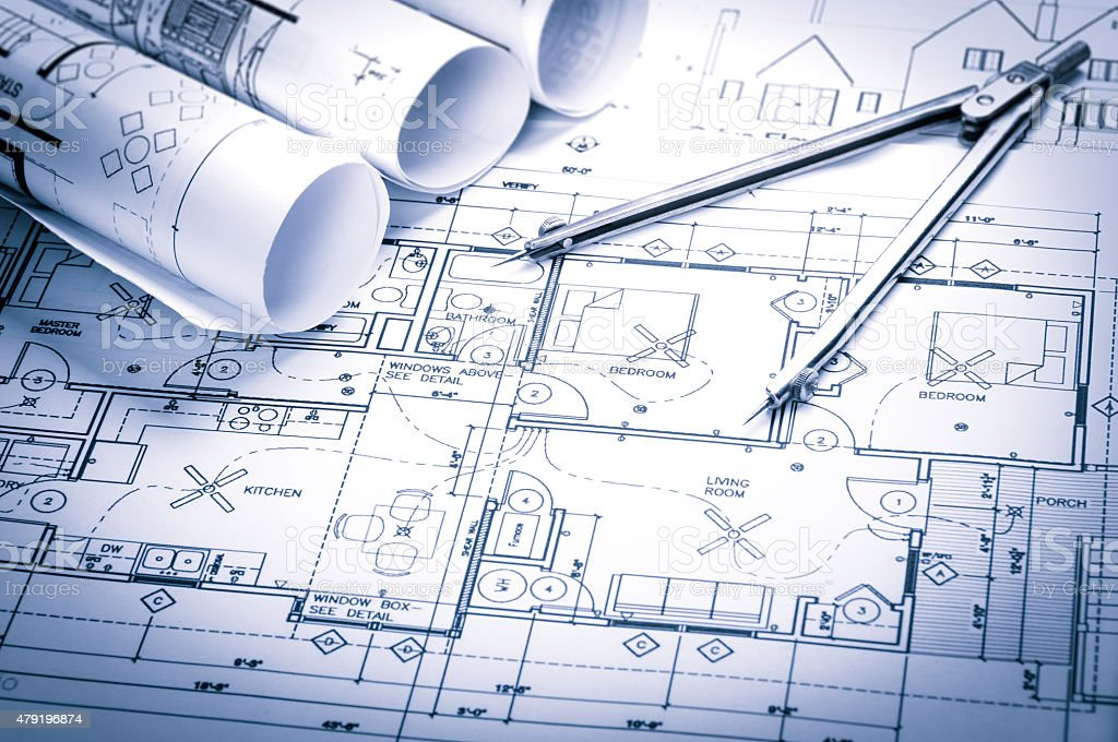 Construction planning drawings bildbanksfoto