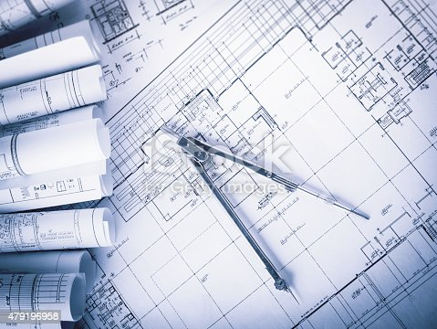 479196874 istock photo Construction planning drawings 479196958