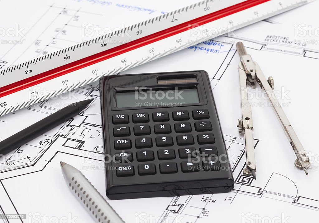 Construction planning royalty-free stock photo