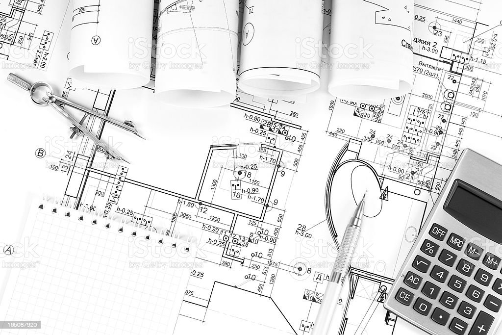 Construction plans in rolls royalty-free stock photo
