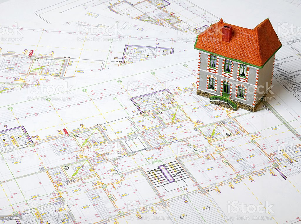 Construction plans royalty-free stock photo