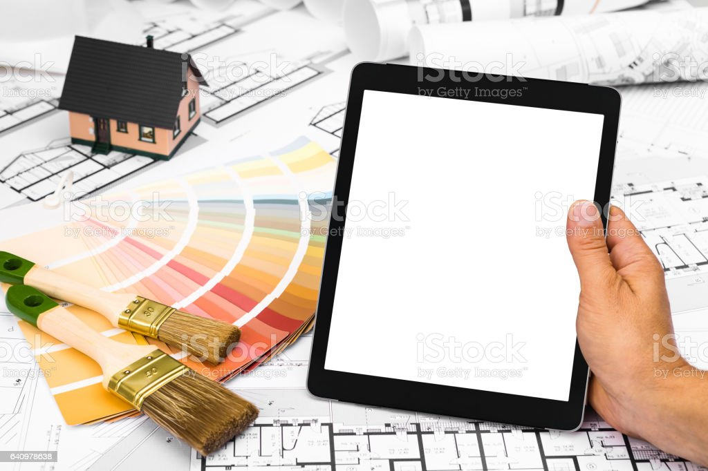 Construction plans with Color Palette Miniature House and Tablet stock photo
