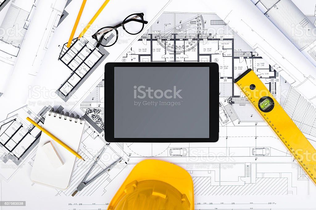 Construction plans with Tablet, drawing and working Tools – Foto