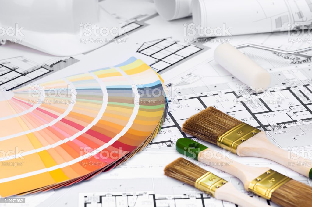 Construction plans with whitewashing Tools and Colors Palette stock photo