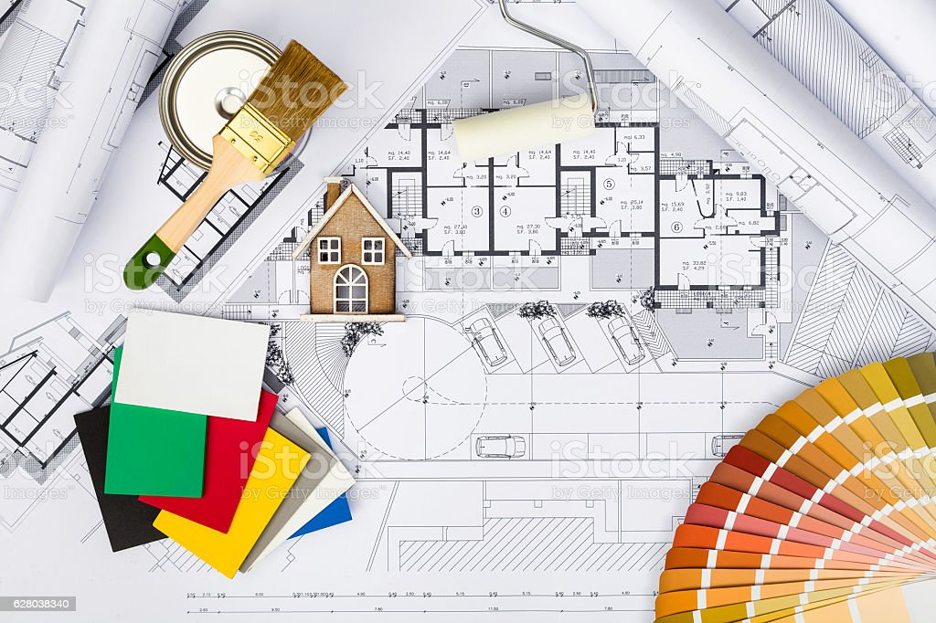 Construction plans with whitewashing Tools,Colors Palette and Mi stock photo