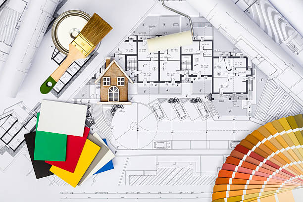 Construction plans with whitewashing Tools,Colors Palette and Mi – Foto