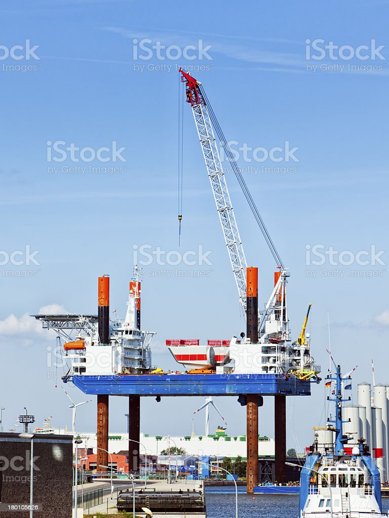 Construction platform for offshore wind energy plants stock photo