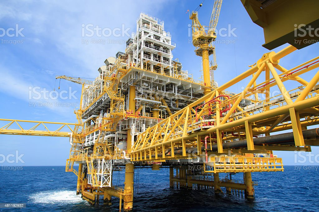 Construction platform for production energy.Oil and gas platform stock photo