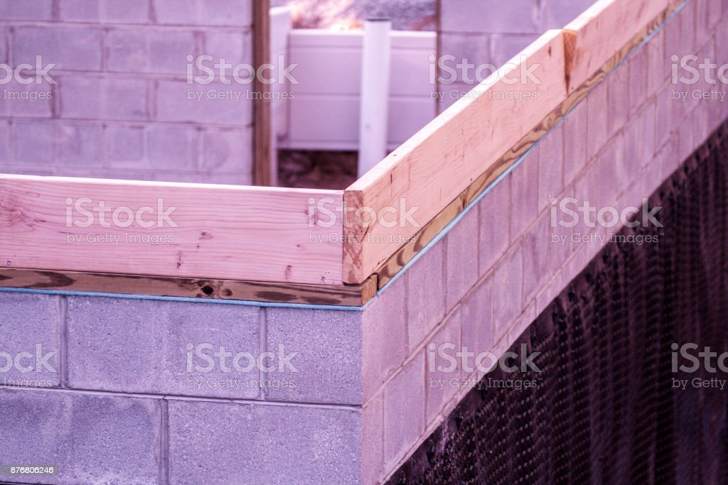 Construction Project Basement Exterior Wall Plastic Waterproofing Shroud stock photo