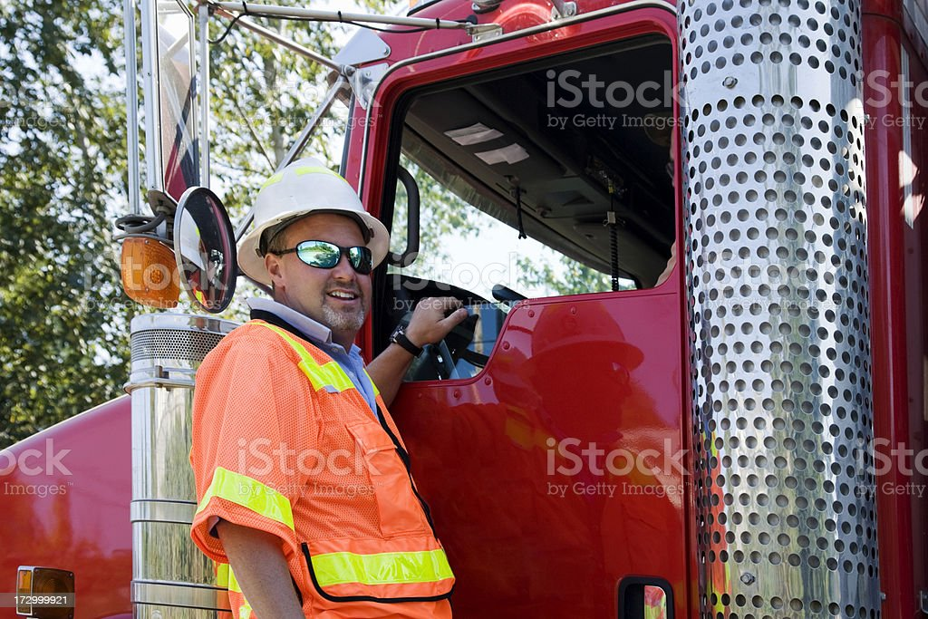 Construction Project Manager with safety gear truck red royalty-free stock photo