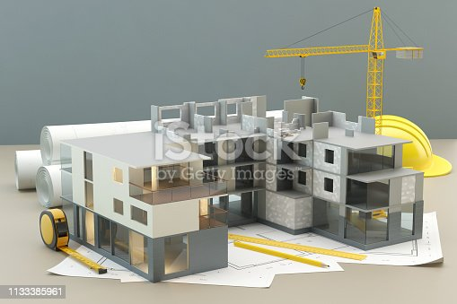 istock Construction project - plan and build, 3D illustration 1133385961