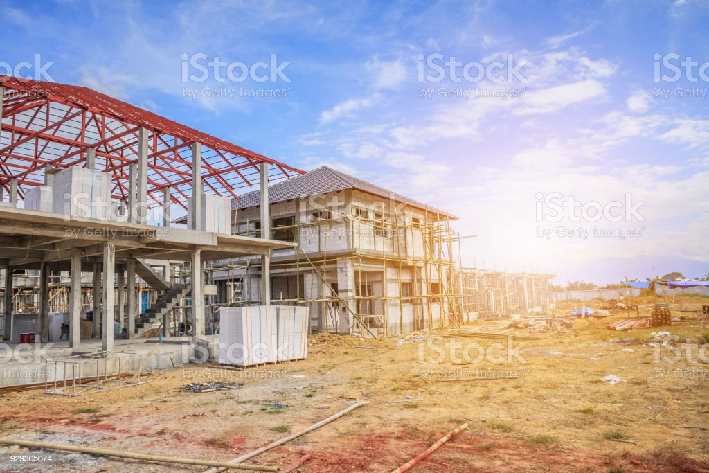 Construction Residential New House In Progress At Building ...
