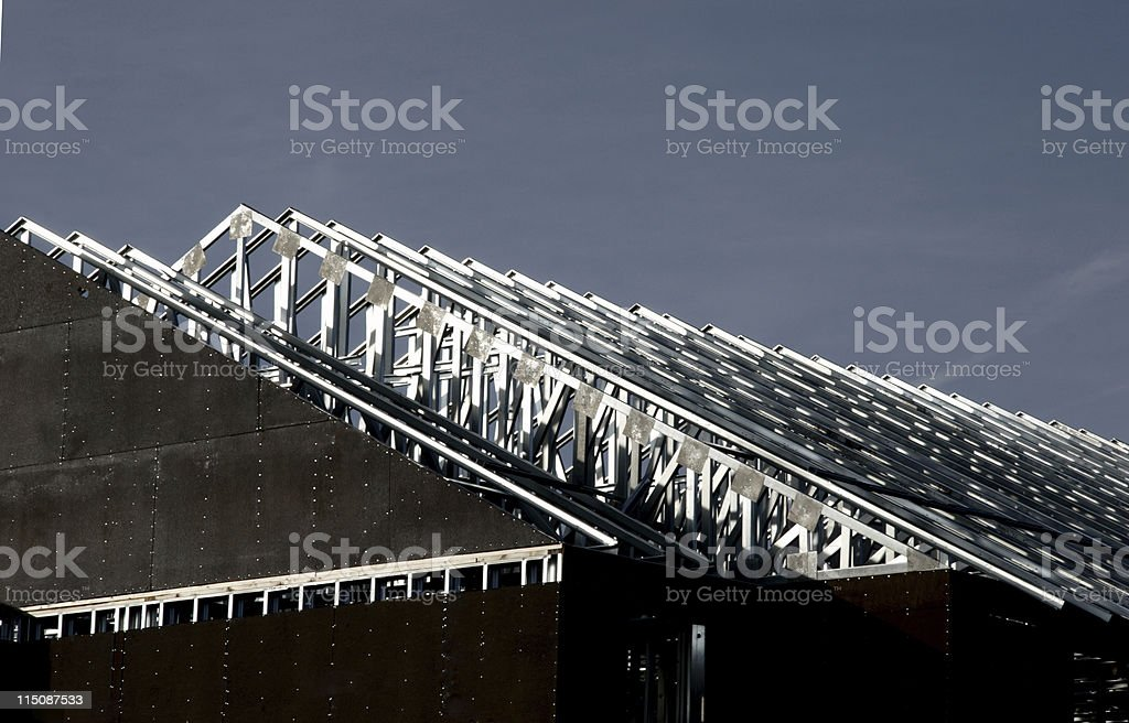 construction scenes - metal roof building royalty-free stock photo