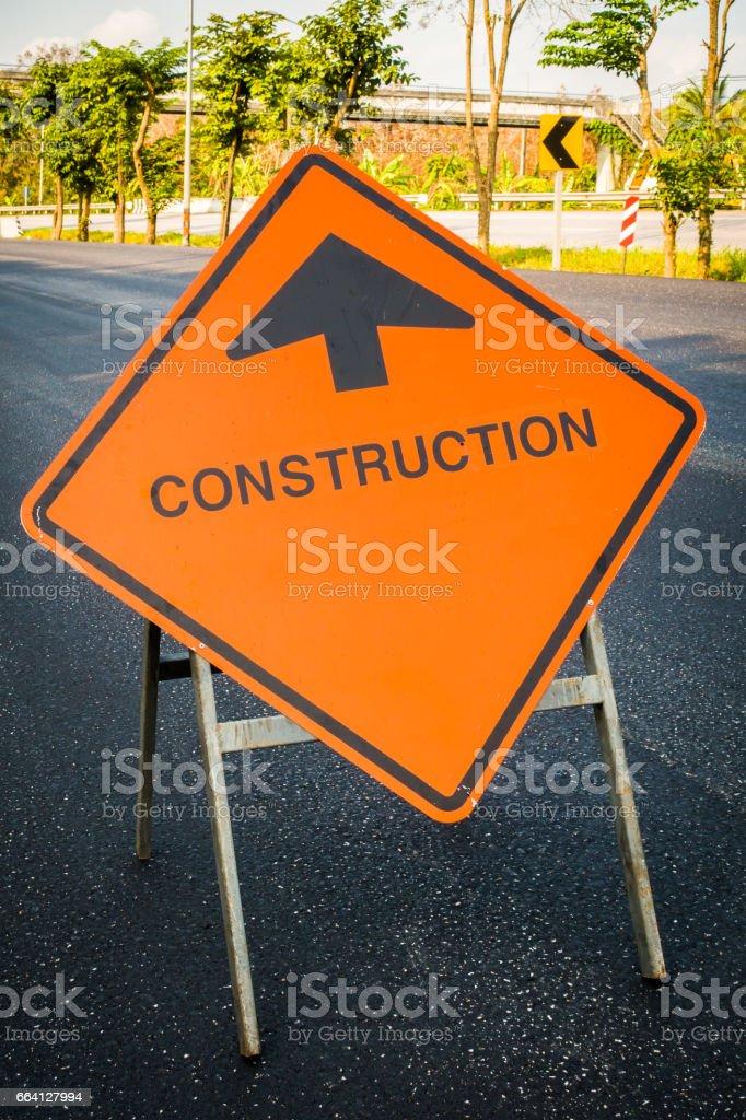 Construction sign beware car foto stock royalty-free