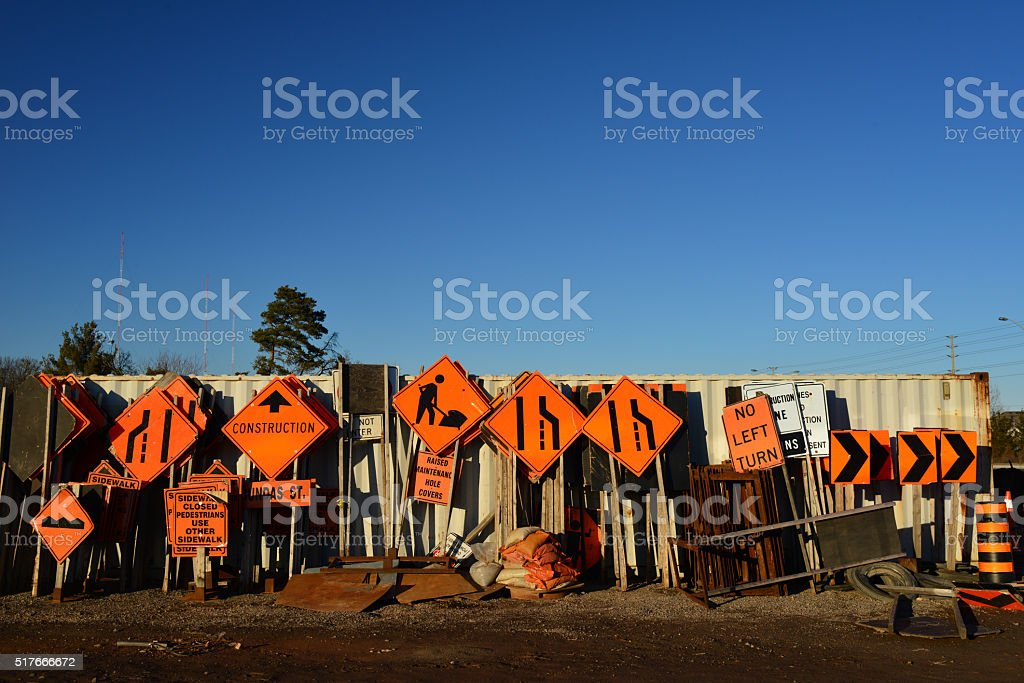Construction Signs stock photo