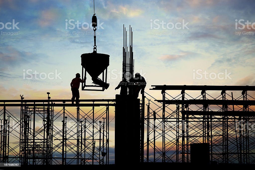 construction silhouette stock photo