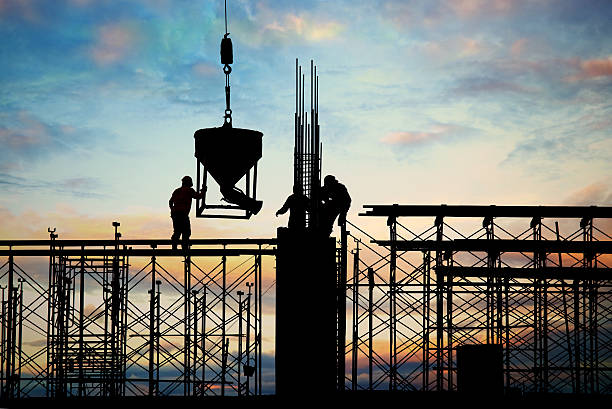 construction silhouette construction silhouette scaffolding stock pictures, royalty-free photos & images