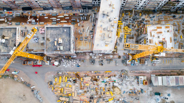 Construction site - aerial view stock photo