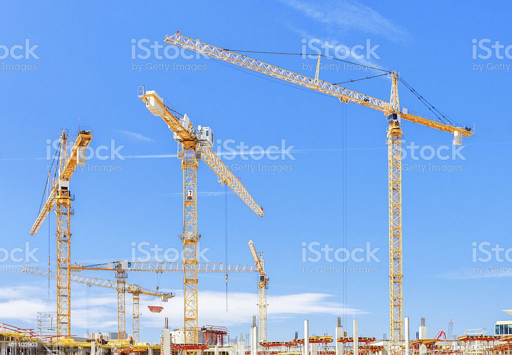 Construction Site and Cranes royalty-free stock photo