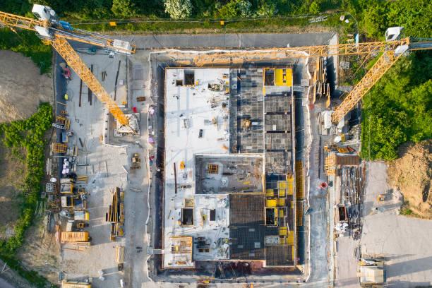 baustelle und ausrüstung - luftbild - aerial view soil germany stock-fotos und bilder