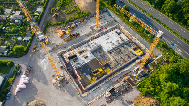 Construction site and equipment - aerial view stock photo