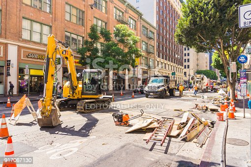 LOS ANGELES, USA - AUGUST 26, 2017: Construction site and roadwork in a street of Downtown LA. Editorial.