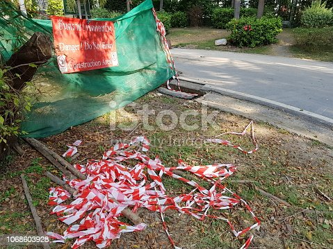 istock Construction Site and safety warning sign 1068603928