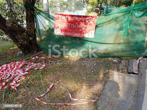 istock Construction Site and safety warning sign 1068804916