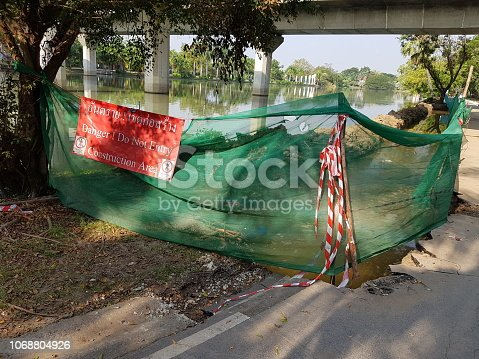 istock Construction Site and safety warning sign 1068804926