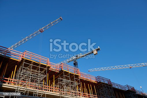 Part of a construction site, low angle view.