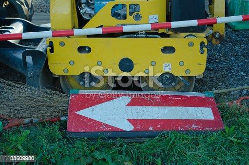 istock Construction site arrow 1138609980